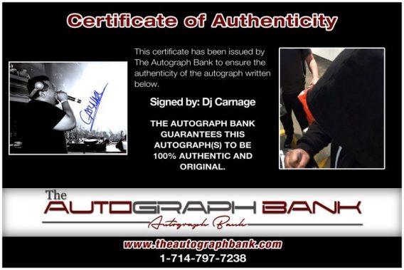 EDM DJ Carnage proof of signing certificate