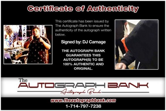 EDM DJ Carnage proof of signing certificate