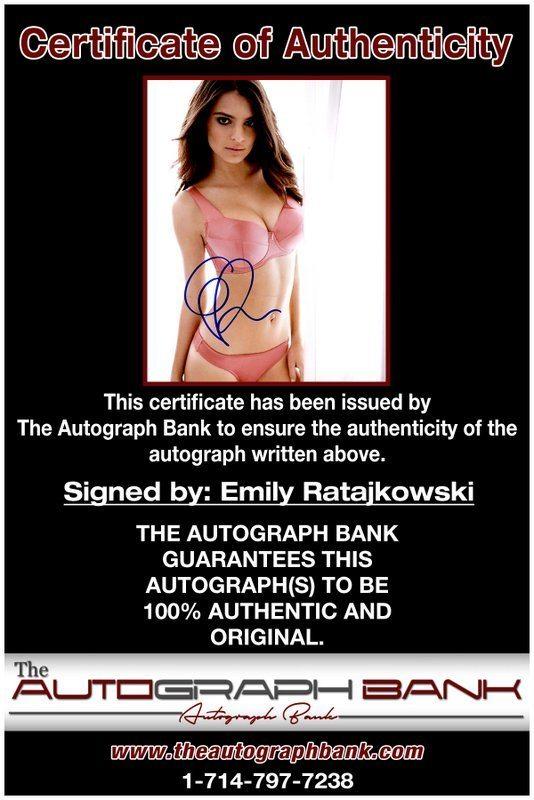 Emily Ratajkowski proof of signing certificate