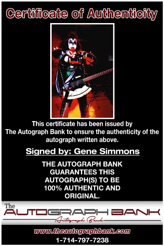 Gene Simmons proof of signing certificate
