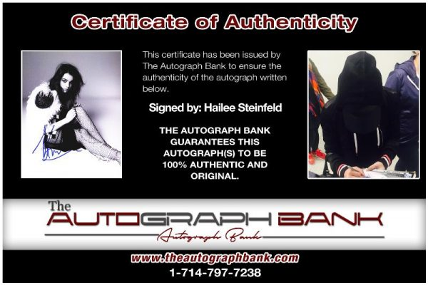 Hailee Steinfeld proof of signing certificate