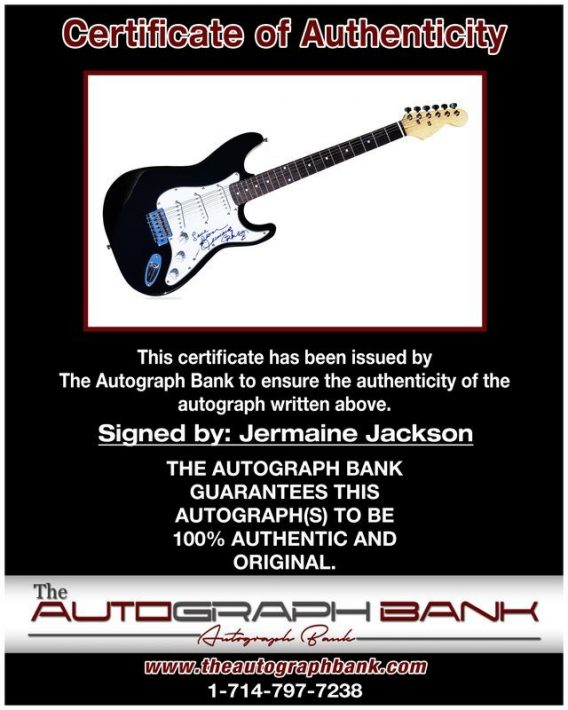 Jermaine Jackson proof of signing certificate