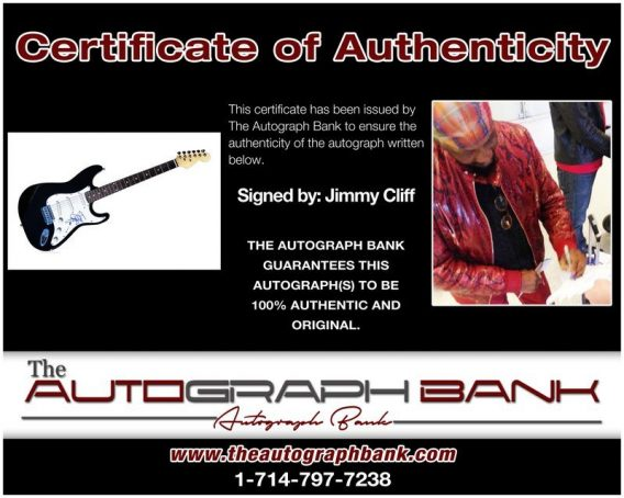 Jimmy Cliff proof of signing certificate