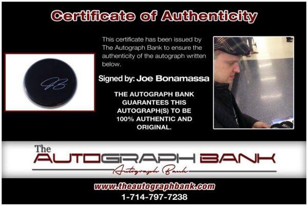 Joe Bonamassa proof of signing certificate