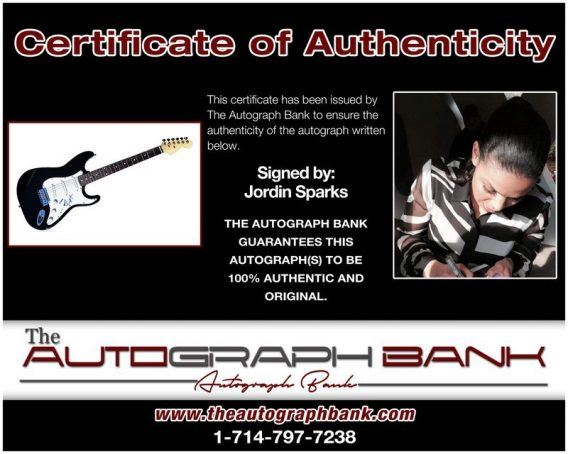 Jordin Sparks proof of signing certificate