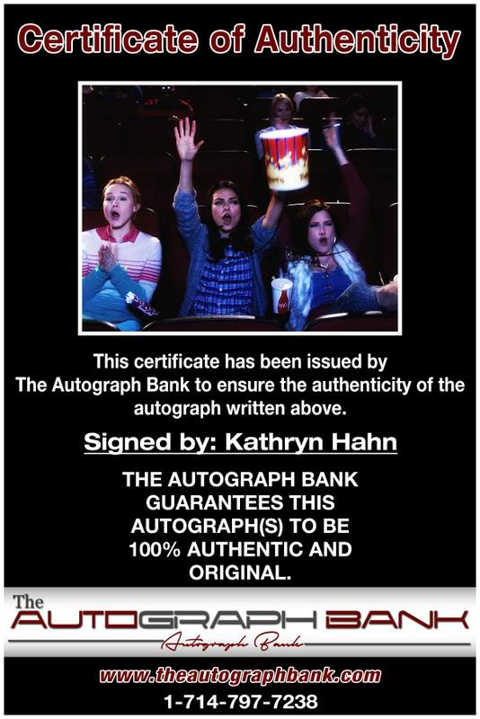 Kathryn Hahn certificate of authenticity from the autograph bank