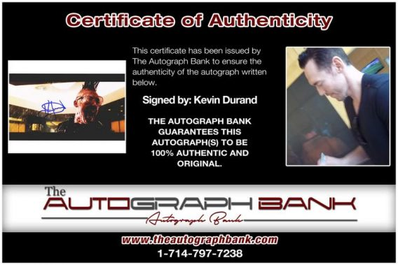 Kevin Durand certificate of authenticity from the autograph bank