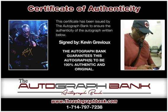 Kevin Grevioux certificate of authenticity from the autograph bank