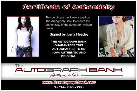 Lena Headey certificate of authenticity from the autograph bank