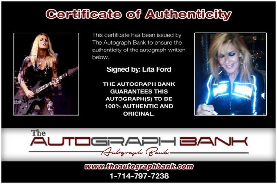 Lita Ford proof of signing certificate