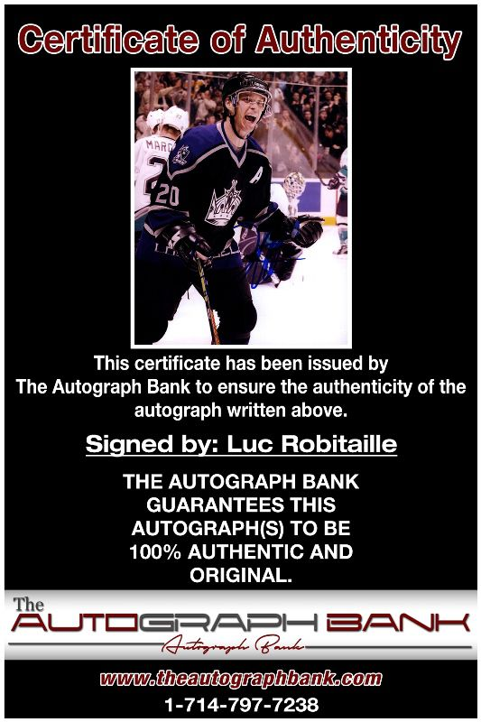 Luc Robitaille proof of signing certificate