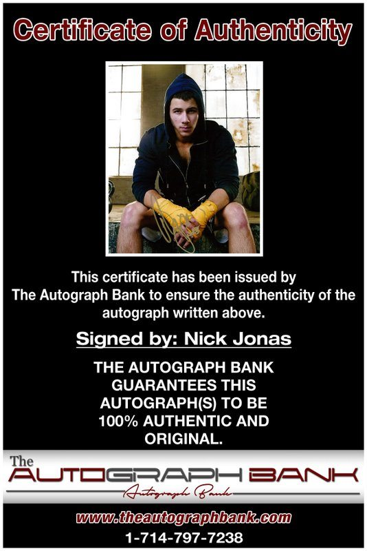 Nick Jonas proof of signing certificate