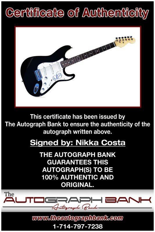 Nikka Costa proof of signing certificate