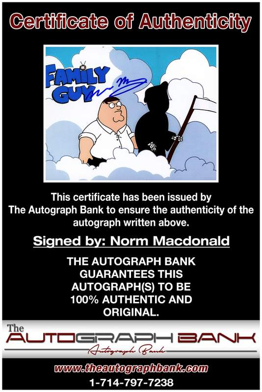 Norm Macdonald certificate of authenticity from the autograph bank