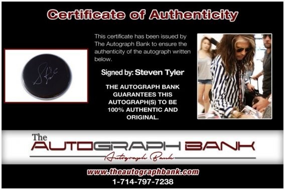 Steven Tyler proof of signing certificate