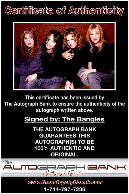 The Bangles proof of signing certificate