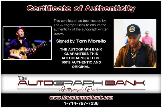 Tom Morello proof of signing certificate