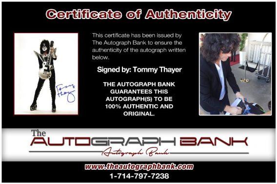 Tommy Thayer proof of signing certificate