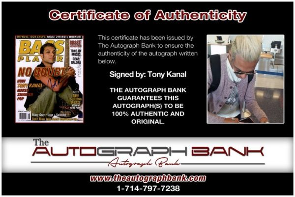 Tony Kanal proof of signing certificate