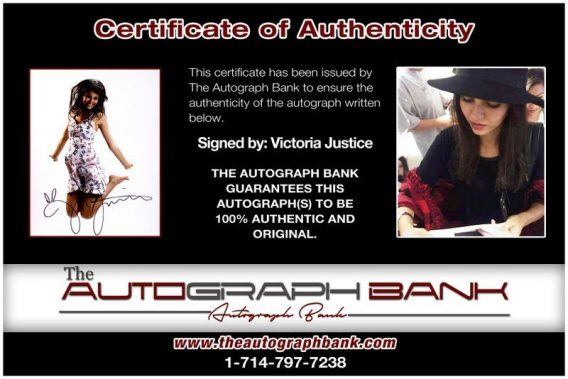 Victoria Justice proof of signing certificate
