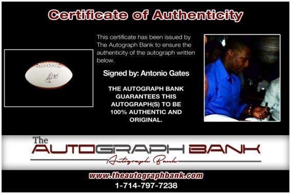 Antonio Gates proof of signing certificate