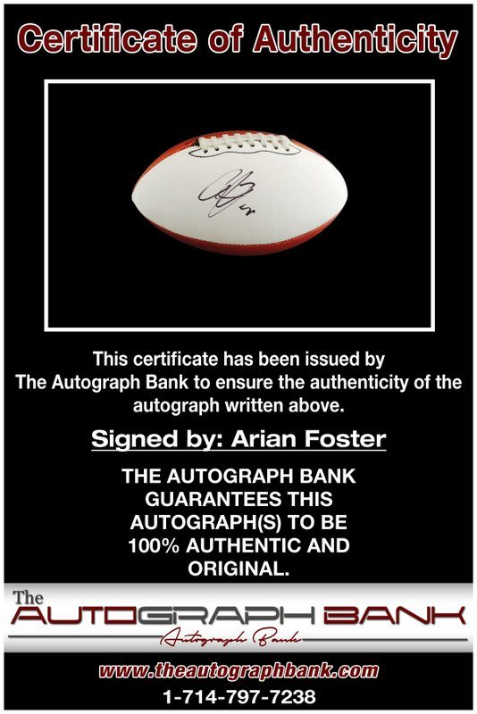 Arian Foster proof of signing certificate