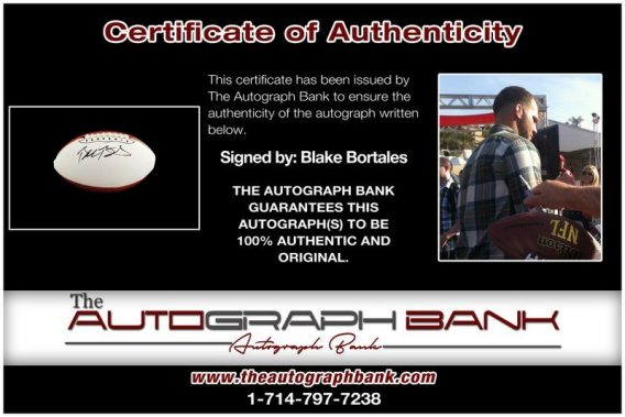 Blake Bortles proof of signing certificate