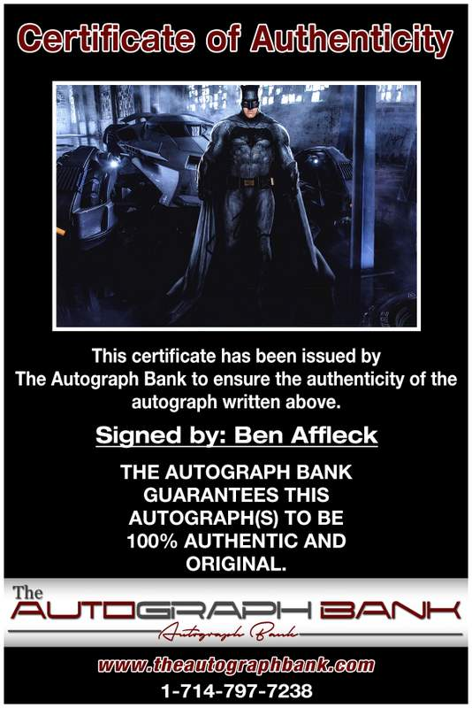 Ben Affleck certificate of authenticity from the autograph bank