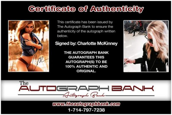 Charlotte Mckinney certificate of authenticity from the autograph bank