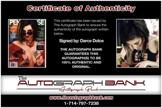 Darce Dolce certificate of authenticity from the autograph bank