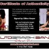 Dillion Harper certificate of authenticity from the autograph bank