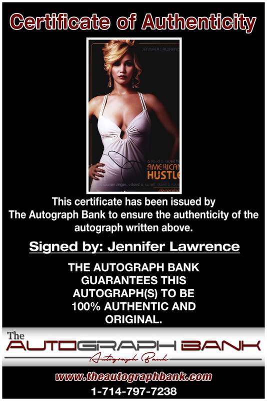 Jennifer Lawrence certificate of authenticity from the autograph bank