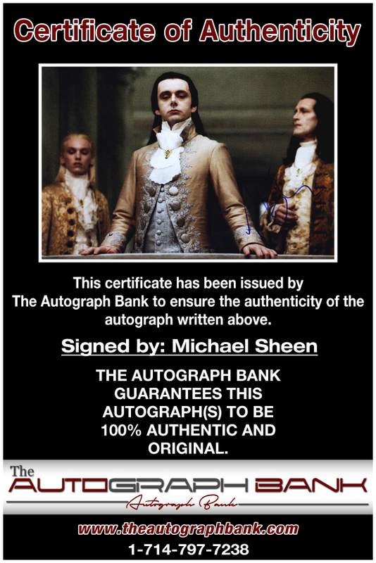 Michael Sheen certificate of authenticity from the autograph bank