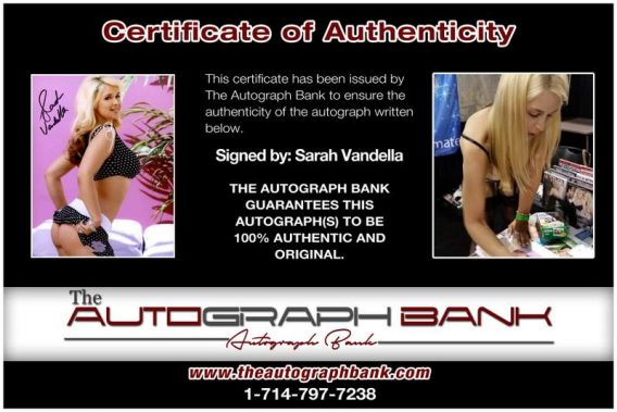Sarah Vandella certificate of authenticity from the autograph bank