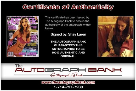 Shay Laren certificate of authenticity from the autograph bank
