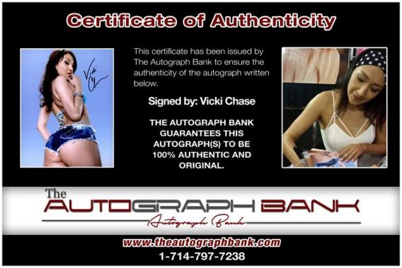 Vicki Chase certificate of authenticity from the autograph bank