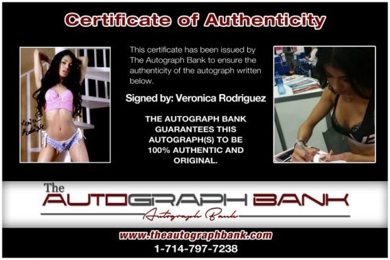 Veronica Rodriguez certificate of authenticity from the autograph bank