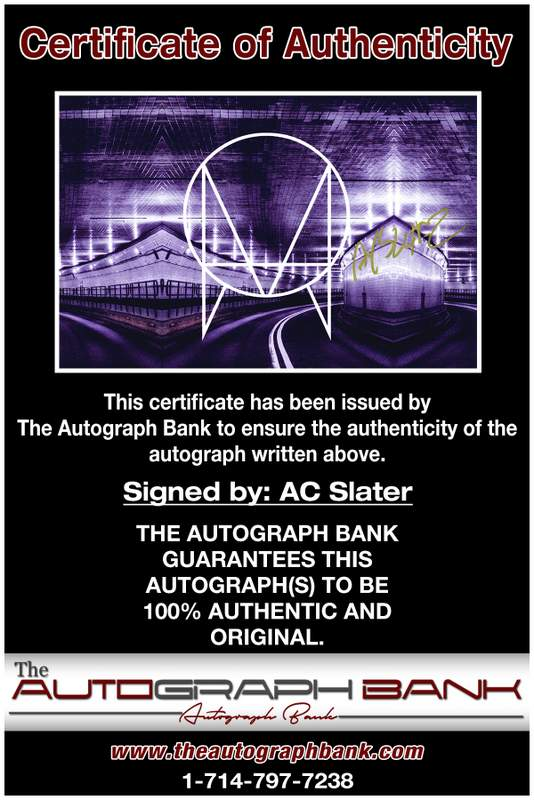 AC Slater certificate of authenticity from the autograph bank