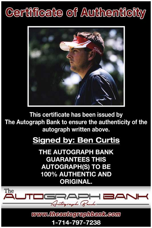 Ben Curtis certificate of authenticity from the autograph bank