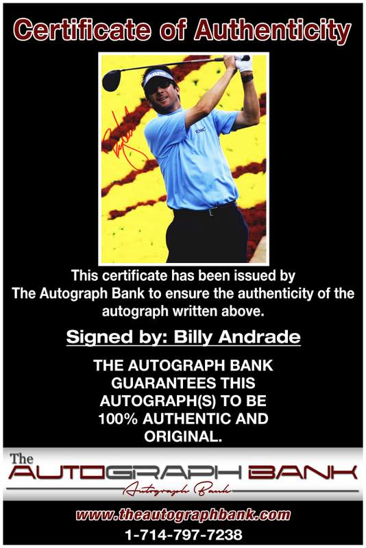 Billy Andrade certificate of authenticity from the autograph bank
