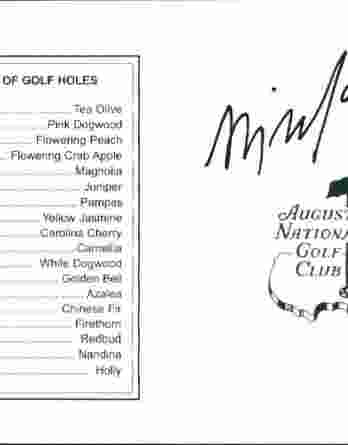 Billy Mayfair authentic signed Masters Score card