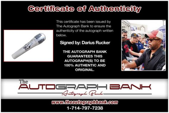 Darius Rucker certificate of authenticity from the autograph bank