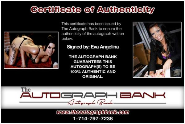 Eva Angelina certificate of authenticity from the autograph bank
