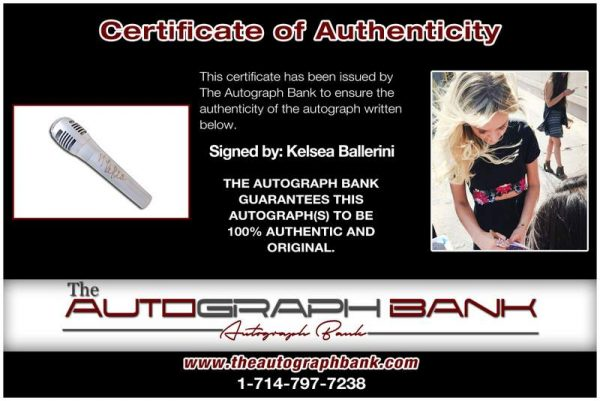 Kelsea Ballerini certificate of authenticity from the autograph bank