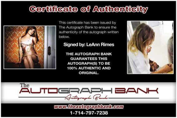 Leann Rimes certificate of authenticity from the autograph bank
