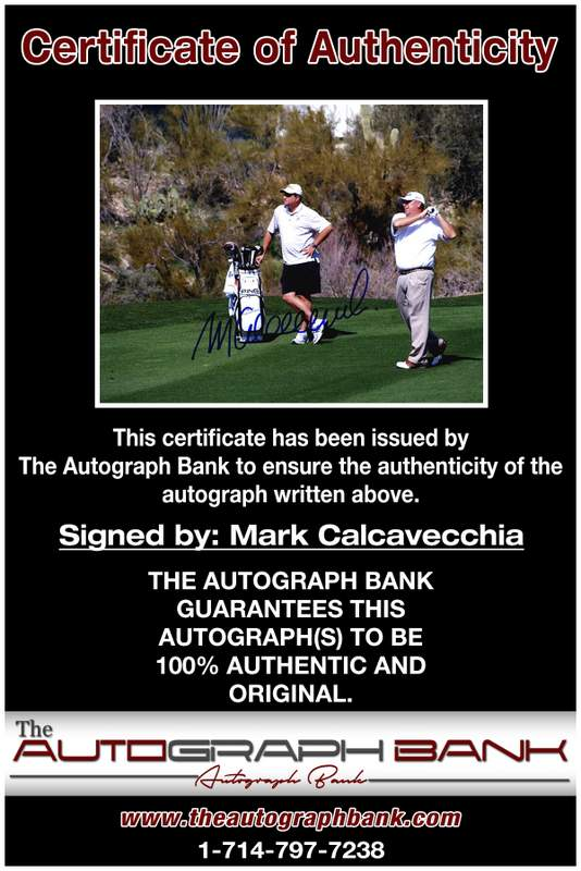 Mark Calcavecchia certificate of authenticity from the autograph bank