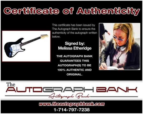 Melissa Etheridge certificate of authenticity from the autograph bank