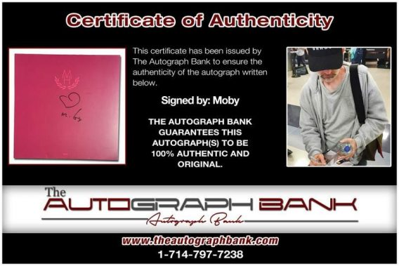 Moby certificate of authenticity from the autograph bank