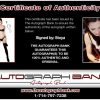 Stoya Adult certificate of authenticity from the autograph bank