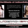 Sophie Dee certificate of authenticity from the autograph bank